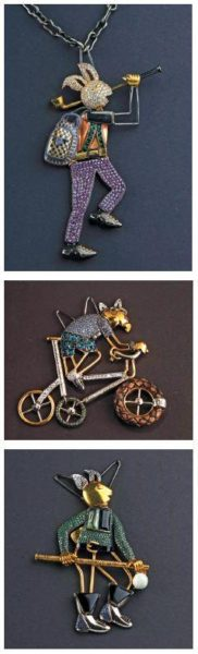 Characters from Geroge Orwell's satire Animal Farm inspire the pig, rat and rabbit shaped pendants